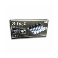 3-In-1 Magnetic & Folding Chess/Checkers/Backgammon